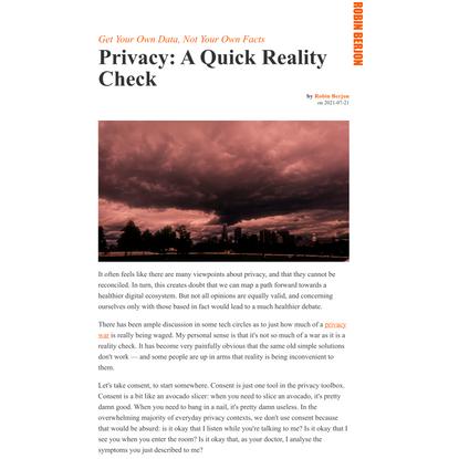 Privacy: A Quick Reality Check