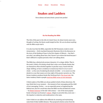 On Not Reading the Bible – Snakes and Ladders