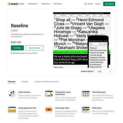 Baseline Theme - Bold - Ecommerce Website Template