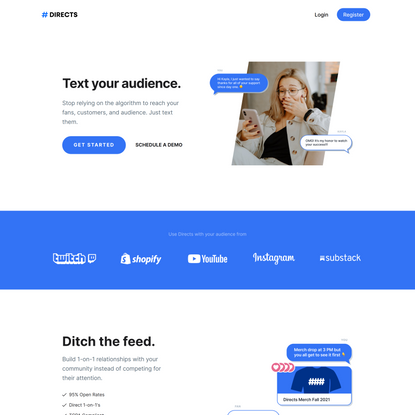 Directs | Text your audience.