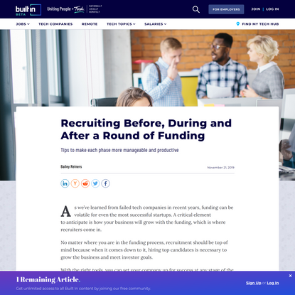 Recruiting Before, During and After a Round of Funding