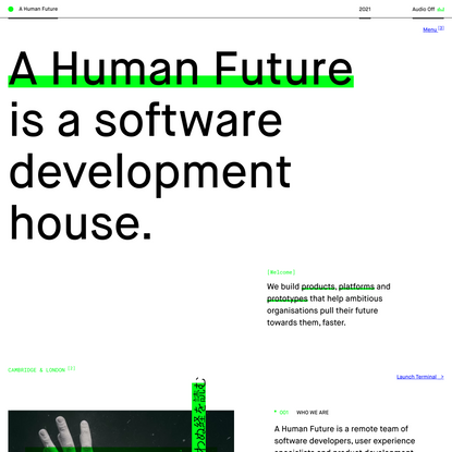 A Human Future // Home - Digital products, platforms and prototypes