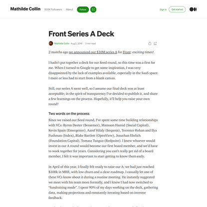 Front Series A Deck