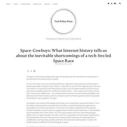 Space-Cowboys: What Internet history tells us about the inevitable shortcomings of a tech-bro led Space Race
