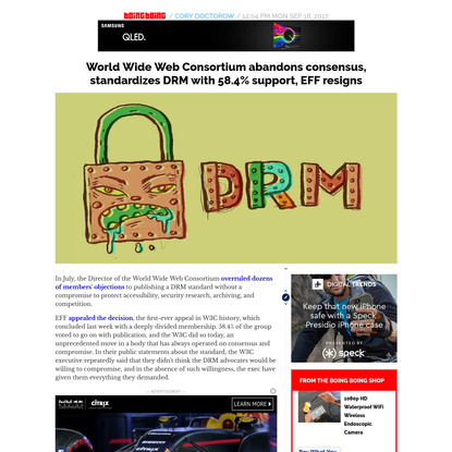 World Wide Web Consortium abandons consensus, standardizes DRM with 58.4% support, EFF resigns