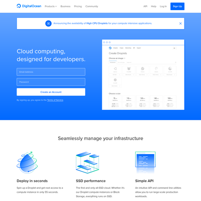 DigitalOcean: Cloud computing designed for developers