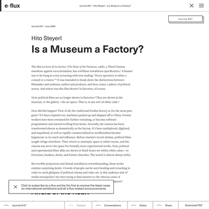 Is a Museum a Factory?
