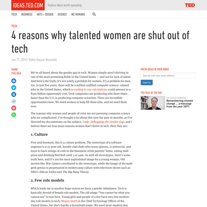 4 reasons why talented women are shut out of tech