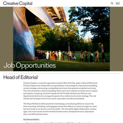 Creative Capital, Head of Editorial