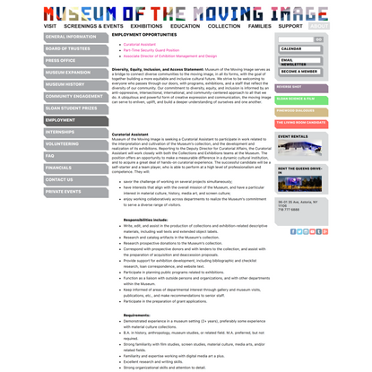 Museum of Moving Image, Curatorial Assistant