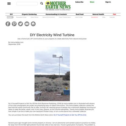 DIY Electricity Wind Turbine | Mother Earth News