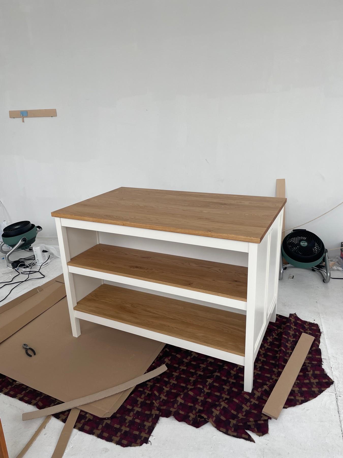 Kitchen island turned workstation