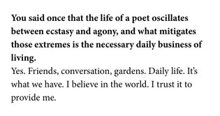 LOUISE GLÜCK, from an interview with poet in Poets & Writers