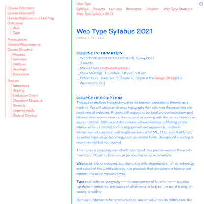 Web Type Syllabus 2021