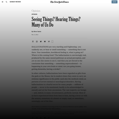 Opinion | Seeing Things? Hearing Things? Many of Us Do - The New York Times