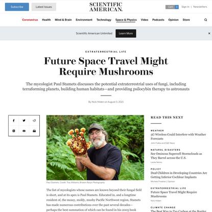 Future Space Travel Might Require Mushrooms - Scientific American