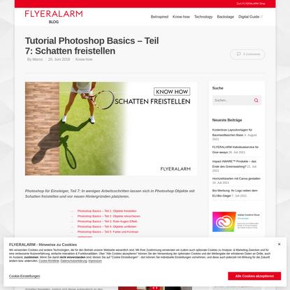 Tutorial Photoshop Basics - Teil 7: Schatten freistellen - Flyeralarm