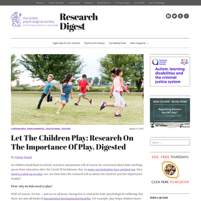Let The Children Play: Research On The Importance Of Play, Digested