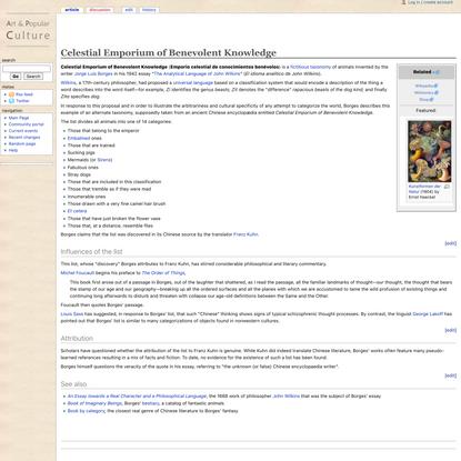 Celestial Emporium of Benevolent Knowledge - The Art and Popular Culture Encyclopedia