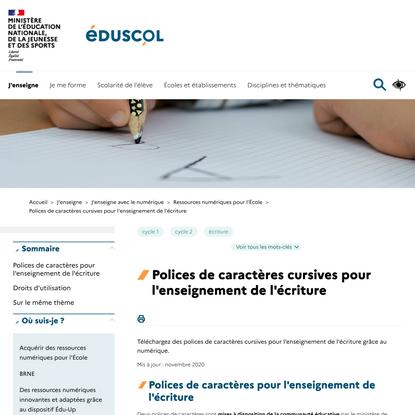 Polices de caractères cursives pour l'enseignement de l'écriture   éduscol   Ministère de l'Éducation nationale, de la Jeunesse et des Sports - Direction générale de l'enseignement scolaire