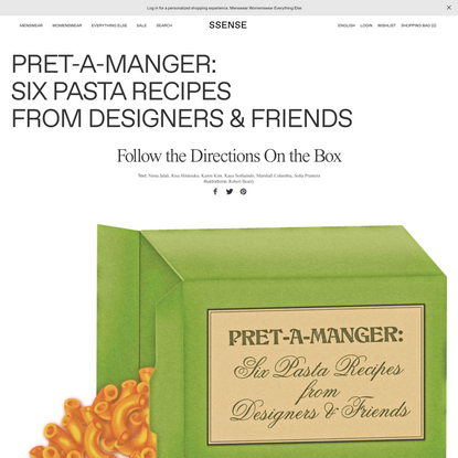 Pret-a-Manger: Six Pasta Recipes from Designers & Friends