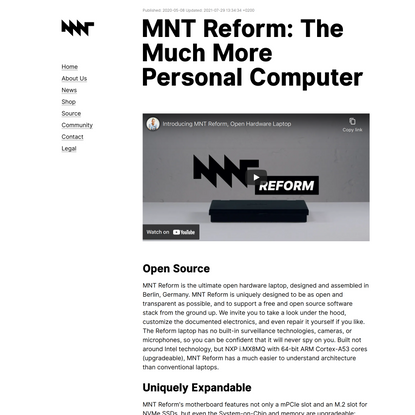 MNT Reform: The Much More Personal Computer—MNT Research