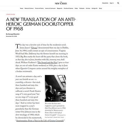 A New Translation of an Anti-Heroic German Doorstopper of 1968