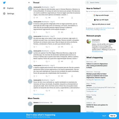 """renan porto on Twitter: """"Eu li só um artigo da Lélia Gonzalez, que é o famoso Racismo e Sexismo na Cultura Brasileira. O com..."""