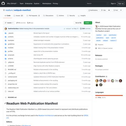 GitHub - readium/webpub-manifest: 📜 A JSON based Web Publication Manifest format used at the core of the Readium project