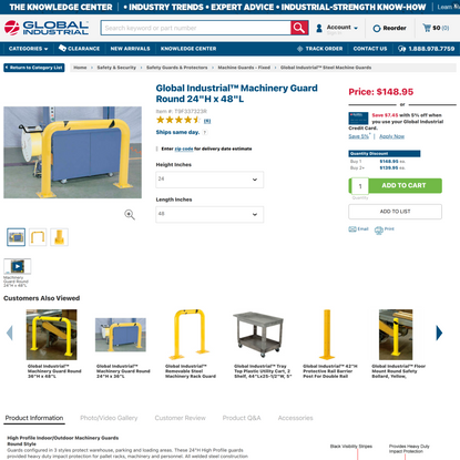 Global Industrial™ Machinery Guard Round 24″H x 48″L