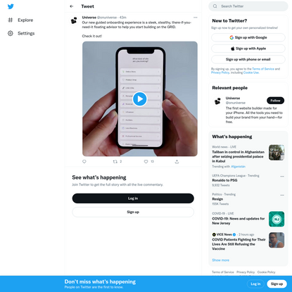"""Universe on Twitter: """"Our new guided onboarding experience is a sleek, stealthy, there-if-you-need-it floating advisor to he..."""