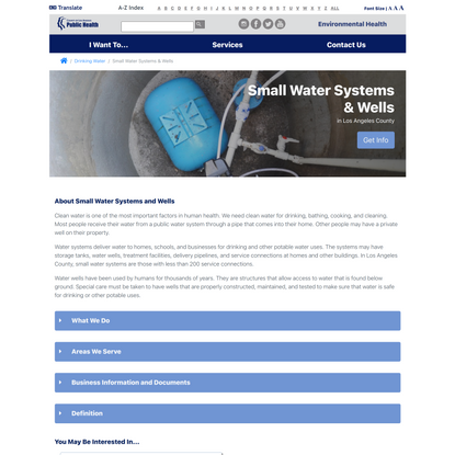 Small Water Systems and Wells | Los Angeles County Department of Public Health - Environmental Health
