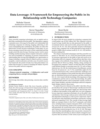 Data Leverage: A Framework for Empowering the Public in its Relationship with Technology Companies