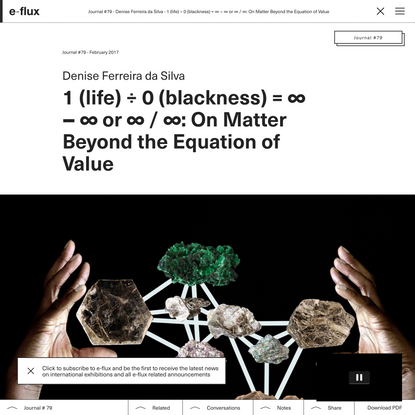 1 (life) ÷ 0 (blackness) = ∞ − ∞ or ∞ / ∞: On Matter Beyond the Equation of Value