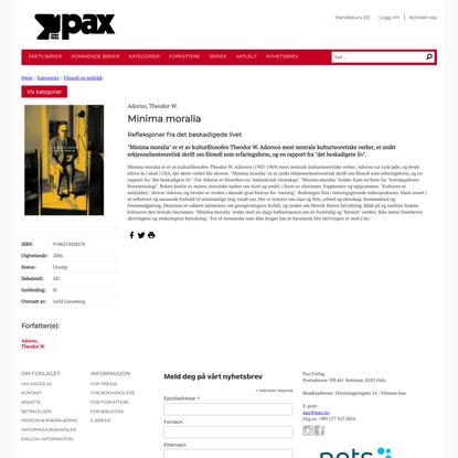 Minima moralia - Pax Forlag