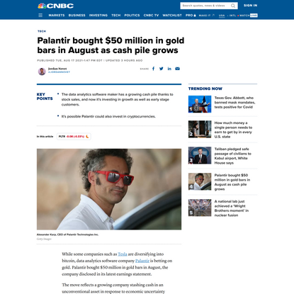 Palantir bought $50 million in gold bars in August as cash pile grows