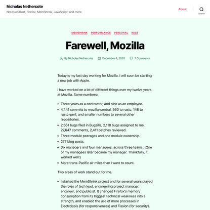 Nicholas Nethercote – Notes on Rust, Firefox, MemShrink, JavaScript, and more