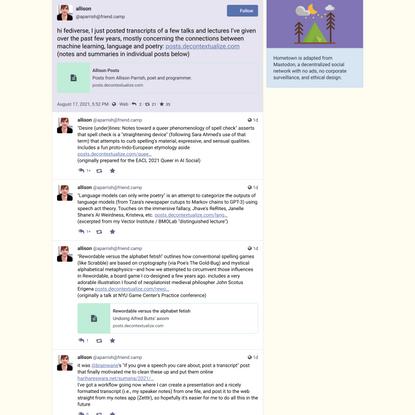 language models, Markov chains, art - allison (@aparrish@friend.camp)