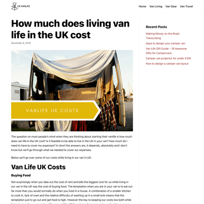 How much does living van life in the UK cost - Uk Vanlife