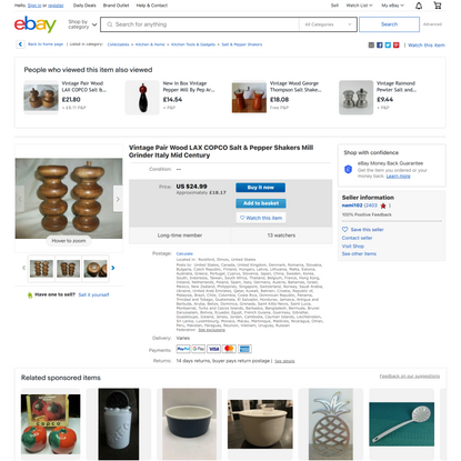 Vintage Pair Wood LAX COPCO Salt & Pepper Shakers Mill Grinder Italy Mid Century   eBay