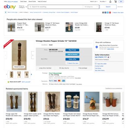 Vintage Wooden Pepper Grinder 15″ Tall MCM   eBay