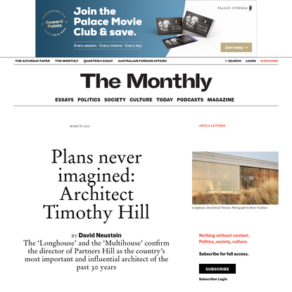Plans never imagined: Architect Timothy Hill