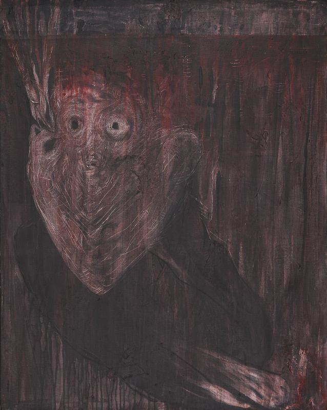 M. Mahdi Hamed Hassanzada, Kabus [Cauchemar], Kaboul, 2015. Acrylique et colle à bois sur toile, 99 × 79 cm. Collection de l'artiste © M. Mahdi Hamed Hassanzada, photo David Giancatarina