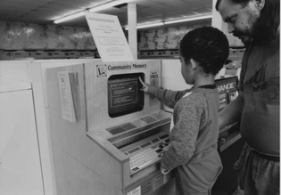 Community Memory terminal being used at Berkeley laundromat, 1990