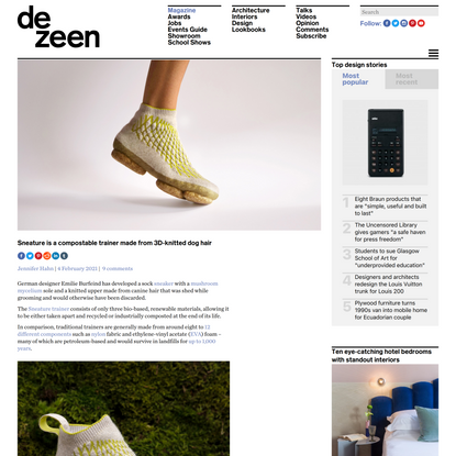 Sneature is a compostable trainer made from 3D-knitted dog hair