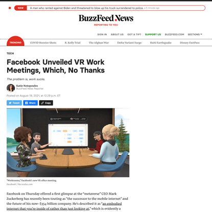 Facebook Unveiled VR Work Meetings, Which, No Thanks