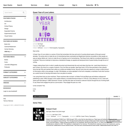 Queer Year of Love Letters | LIBRARYSTACK∎