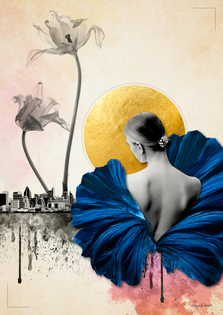 Lady in a Blue Dress -HrysBasics collage Artwork-
