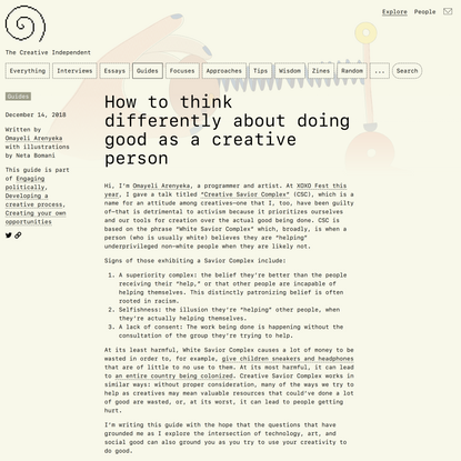 How to think differently about doing good as a creative person