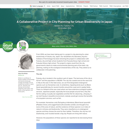 A Collaborative Project in City Planning for Urban Biodiversity in Japan – The Nature of Cities